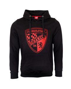 Hoodie Rotes Logo auf Schwarz