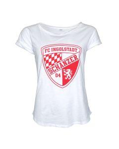 Damenshirt weiss Logo rot